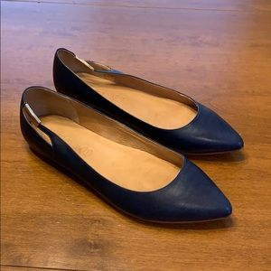 Aldo Navy blue flats with gold accent